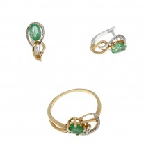 Set for a woman - ring and earrings, 14k red gold, diamonds and emeralds