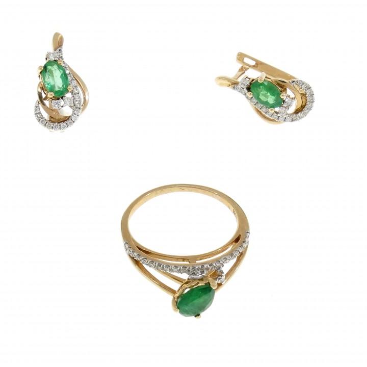 Набор для женщины - кольцо и серьги, красное золото 14 карат с бриллиантами и изумрудами