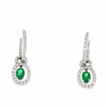 Set for women - ring and earrings in 18K white gold, diamonds and emeralds
