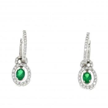 Набор для женщины - кольцо и серьги, белое золото 18 карат с бриллиантами и изумрудами