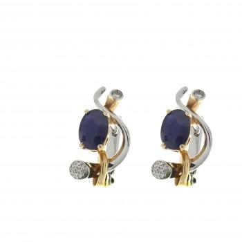 Набор для женщины - кольцо и серьги, жёлтое и белое золото 14 карат с бриллиантами и сапфирами