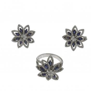 Набор для женщины - кольцо и серьги, белое золото 14 карат с бриллиантами и сапфирами