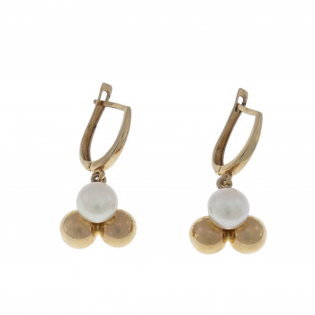 Set for woman - ring and earrings with pearls, red gold 14 k