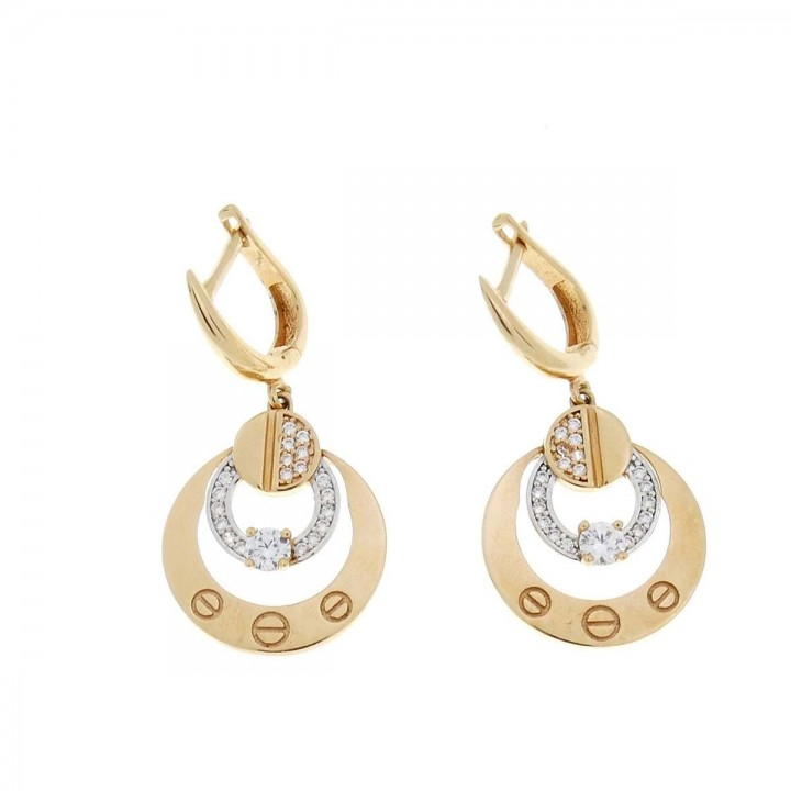 Set for women - ring and earrings, 585 red gold and zircon
