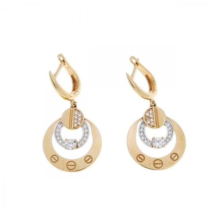 Набор для женщины - кольцо и серьги, красное золото 14 карат 585 и цирконий