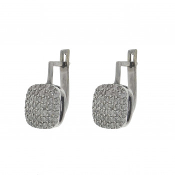 Set for women - ring and earrings with diamonds, 14k white gold