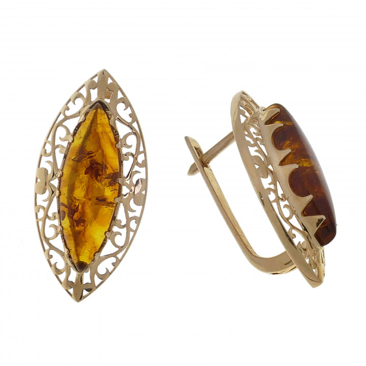 Кольцо и серьги с янтарём
