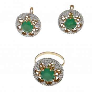 Set for women - ring and earrings, 14K red gold with zirconia and emeralds