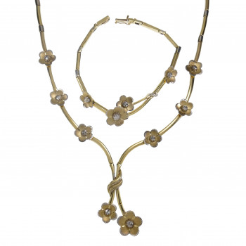 Set for women - necklace and bracelet, 14K yellow and white gold
